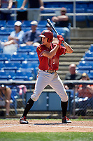 Altoona Curve shortstop Cole Tucker (3) at bat during a game against the Binghamton Rumble Ponies on June 14, 2018 at NYSEG Stadium in Binghamton, New York.  Altoona defeated Binghamton 9-2.  (Mike Janes/Four Seam Images)
