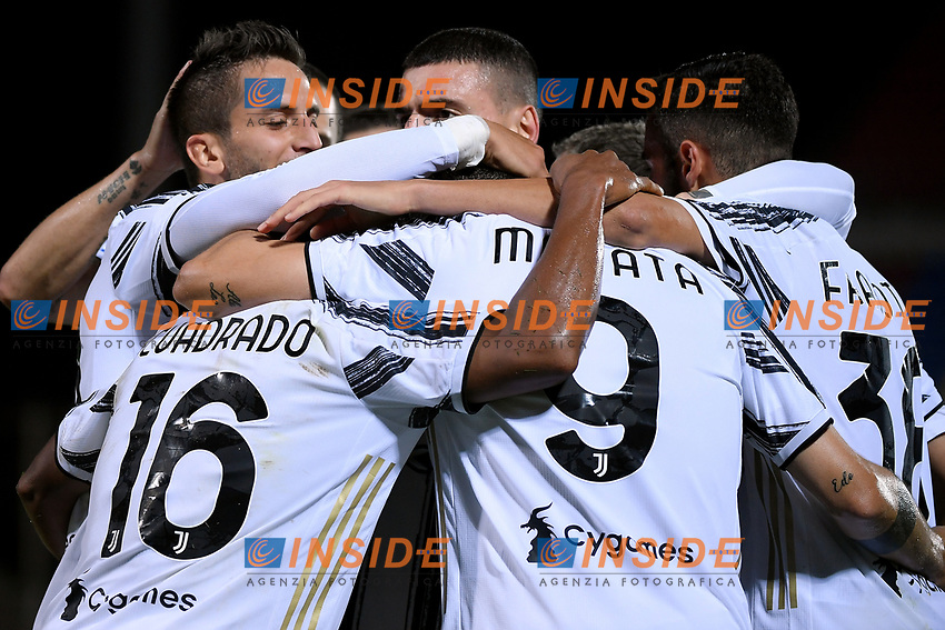 Alvaro Morata of Juventus FC celebrates with team mates after scoring the goal of 1-0 during the Serie A football match between FC Crotone and Juventus FC at stadio Ezio Scida in Crotone (Italy), October 17th, 2020. Photo Federico Tardito / Insidefoto