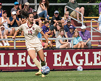 NEWTON, MA - SEPTEMBER 12: Samantha Agresti #15 of Boston College passes the ball during a game between Holy Cross and Boston College at Newton Campus Soccer Field on September 12, 2021 in Newton, Massachusetts.