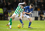 St Johnstone v Celtic…..29.01.20   McDiarmid Park   SPFL<br />Mikey Johnstone is tackled by Jason Kerr<br />Picture by Graeme Hart.<br />Copyright Perthshire Picture Agency<br />Tel: 01738 623350  Mobile: 07990 594431