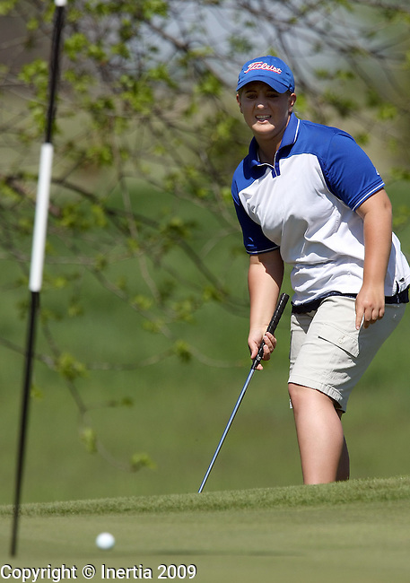 SIOUX FALLS, SD - MAY 19:  Samantha Mogck of Parkston watches chips on to the third green of the final round at the 2009 Class A Girls Golf Championship at Central Valley Golf Course in Hartford. (Photo by Dave Eggen/Inertia).