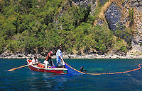 Fishermen near village of Soufriere, island of Dominica, West Indies. Soufriere, Dominica West Indies.