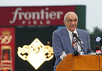 August 29, 2003:  Former Orioles Manager Joe Altobelli speaks as Cal Ripken Jr. is inducted into the Rochester Red Wings Hall of Fame before an International League game at Frontier Field in Rochester, NY.  Photo by:  Mike Janes/Four Seam Images