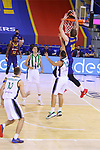 League ACB-ENDESA 2020/2021.Game 15.<br /> FC Barcelona vs Club Joventut Badalona: 88-74.<br /> Artem Pustovyi vs Albert Ventura.