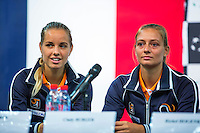 Arena Loire,  Trélazé,  France, 14 April, 2016, Semifinal FedCup, France-Netherlands, Draw,  Ltr: Arantxa Rus and Cindy Burger<br /> Photo: Henk Koster/Tennisimages