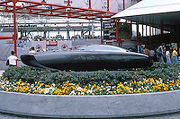 Vancouver: EXPO '86--GM Pavilion; Car-of-the-Future Sculptural Form outside building. Photo '86.