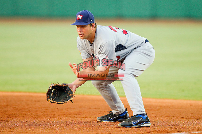 First baseman Brian Johnson #35 (Florida) of the USA Baseball Collegiate National Team on defense against the USA 18u National Team at the USA Baseball National Training Center on July 2, 2011 in Cary, North Carolina.  The College National Team defeated the 18u team 8-1.  Brian Westerholt / Four Seam Images