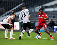 12th September 2020; Pride Park, Derby, East Midlands; English Championship Football, Derby County versus Reading; Omar Richards of Reading turns with the ball at his feet as Nathan Byrne and Jason Knight of Derby County  comes in to tackle