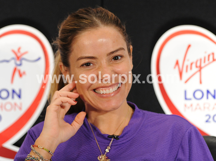 **ALL ROUND PICTURES FROM SOLARPIX.COM**.**WORLDWIDE SYNDICATION RIGHTS**.Celebrity runners take part in photocalls ahead of Sunday's big race - The 2010 London Marathon. Held at the Tower Hotel, London, UK. 23 April 2010..This pic: Elen Rives..JOB REF: 11146 SSD     DATE: 23_04_2010.**MUST CREDIT SOLARPIX.COM OR DOUBLE FEE WILL BE CHARGED**.**MUST NOTIFY SOLARPIX OF ONLINE USAGE**.**CALL US ON: +34 952 811 768 or LOW RATE FROM UK 0844 617 7637**