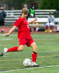 CHESHIRE, CT-111220JS11—Cheshire's Murphy Malone  (11) fires a shot on goal to score his team's first goal during their SCC Division A semifinal game against North Haven Thursday at Cheshire High School.<br /> Jim Shannon Republican-American