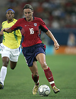 26 August 2004:  Abby Wambach in action during the Gold Medal game against Brazil at Karaiskaki Stadium in Athens, Greece.   USA defeated Brazil, 2-1 in overtime.   Credit: Michael Pimentel / ISI.