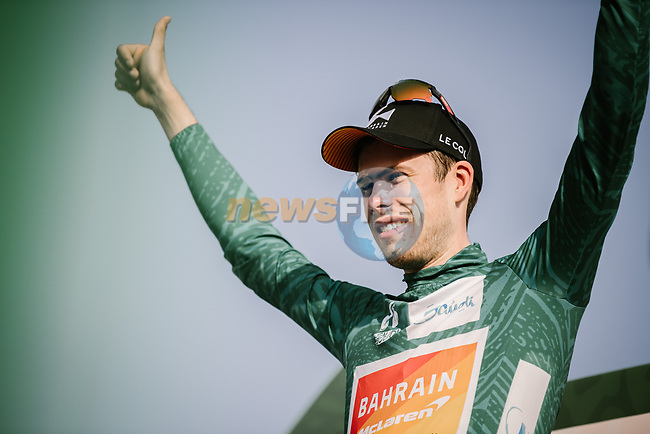 Phil Bauhaus (GER) Bahrain-Mclaren wins Stage 3 and takes over the race leader's Green Jersey of the Saudi Tour 2020 running 119km from King Saud University to Al Bujairi, Saudi Arabia. 6th February 2020. <br /> Picture: ASO/Pauline Ballet | Cyclefile<br /> All photos usage must carry mandatory copyright credit (© Cyclefile | ASO/Pauline Ballet)