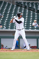 Mesa Solar Sox first baseman Daniel Pinero (26), of the Detroit Tigers organization, at bat during an Arizona Fall League game against the Peoria Javelinas at Sloan Park on October 11, 2018 in Mesa, Arizona. Mesa defeated Peoria 10-9. (Zachary Lucy/Four Seam Images)