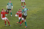 Ellis Myles of Brackley Town and Robbie Dale of Blyth Spartans. Blyth Spartans v Brackley Town, 30112019. Croft Park, National League North. Photo by Paul Thompson.