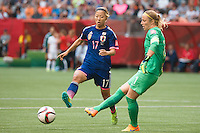 June 23, 2015: Loes GEURTS of Netherlands clears the ball during a round of 16 match between Japan and Netherlands at the FIFA Women's World Cup Canada 2015 at BC Place Stadium on 23 June 2015 in Vancouver, Canada. Japan won 2-1. Sydney Low/AsteriskImages.com