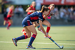 Mannheim, Germany, September 12: During the 1. Bundesliga women fieldhockey match between Mannheimer HC (blue) and Ruesselsheimer RK (red) on September 12, 2020 at Am Neckarkanal in Mannheim, Germany. Final score 2-0 (HT 1-0). (Copyright Dirk Markgraf / www.265-images.com) *** Agustina Habif #5 of Mannheimer HC