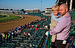 LOUISVILLE, KY - MAY 04: Michael Byrd and his son Gabriel, from Harrodsburg, Kentucky take in morning workouts for the Kentucky Derby and Kentucky Oaks on their first visit to Churchill Downs on May 4, 2016 in Louisville, Kentucky. (Photo by Scott Serio/Eclipse Sportswire/Getty Images)