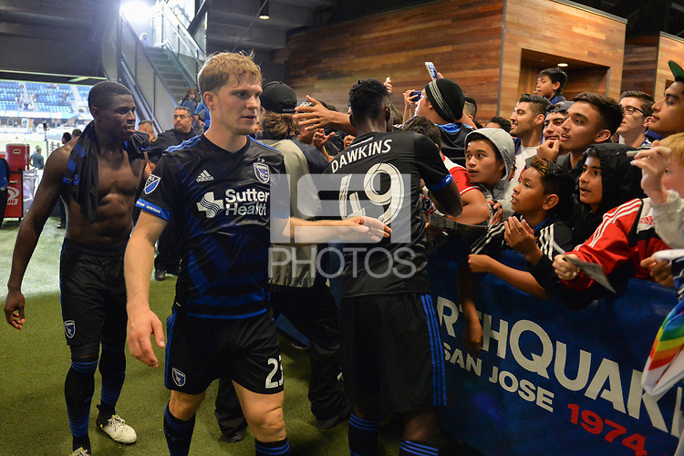 San Jose, CA - Monday July 10, 2017: Florian Jungwirth, Simon Dawkins, fans after a U.S. Open Cup quarterfinal match between the San Jose Earthquakes and the Los Angeles Galaxy at Avaya Stadium.
