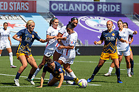 HERRIMAN, UT - JULY 8: Players from Utah Royals FC and OL Reign FC play for a corner kick during a game between OL Reign and Utah Royals FC at Zions Bank Stadium on July 8, 2020 in Herriman, Utah.