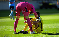 Sydney keeper Andrew Redmayne consoles Ulises Davila after his miss during the A-League football match between Wellington Phoenix and Sydney FC at Sky Stadium in Wellington, New Zealand on Saturday, 21 December 2019. Photo: Dave Lintott / lintottphoto.co.nz