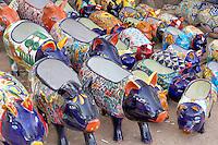 Colorful pig pots for sale. Tubac. Arizona