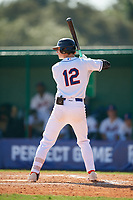 Ryan Faulks (12) during the WWBA World Championship at Terry Park on October 8, 2020 in Fort Myers, Florida.  Ryan Faulks, a resident of Rancho Santa Margarita, California who attends Trabuco Hills High School, is committed to San Diego State.  (Mike Janes/Four Seam Images)