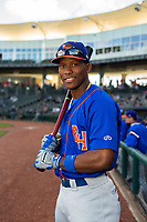 Midland RockHounds outfielder Dairon Blanco (15) poses for a photo on May 4, 2019, at Arvest Ballpark in Springdale, Arkansas. (Jason Ivester/Four Seam Images)