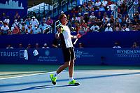 Ilya Ivashka in action against Mikael Ymer on stadium court during the singles final match of the Winston-Salem Open on Saturday August 28, 2021 in Winston-Salem, North Carolina. (Photo by Jared Wickerham/Winston-Salem Open)