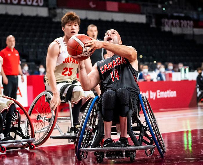 Tyler Miller, Tokyo 2020 - Wheelchair Basketball // Basketball en fauteuil roulant.<br /> Canada takes on Japan in a men's preliminary game // Le Canada affronte le Japon dans un match préliminaire masculin. 28/08/2021.