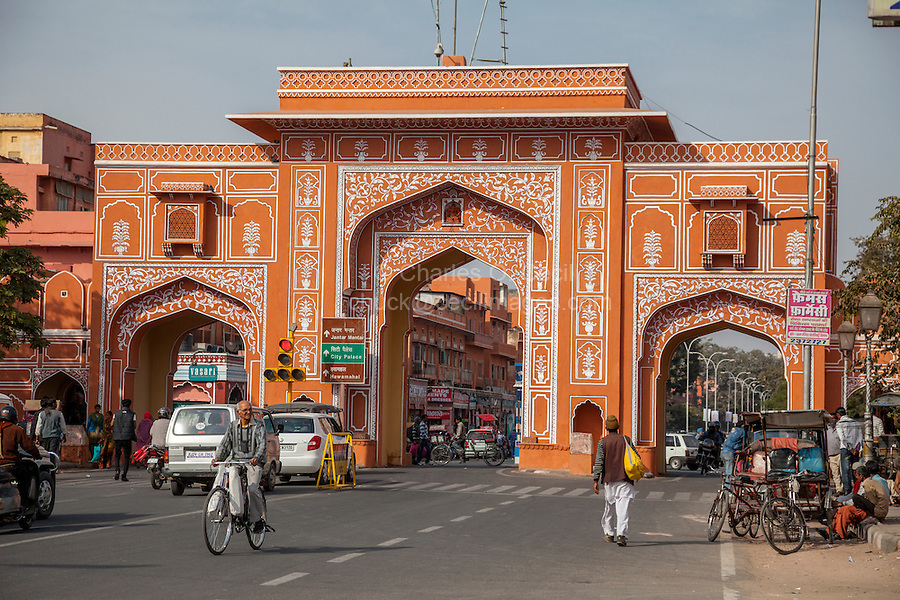 Jaipur, Rajasthan, India.  Entrance Gate to the Pink City.