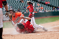Sam Houston State Bearkats catcher Anthony Azar #20 is tagged out by Texas Tech Red Raiders catcher Hunter Redman #5 during the NCAA baseball game on March 1, 2014 during the Houston College Classic at Minute Maid Park in Houston, Texas. The Bearkats defeated the Red Raiders 10-6. (Andrew Woolley/Four Seam Images)