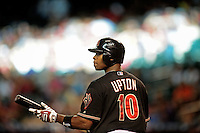 May 8, 2010; Phoenix, AZ, USA; Arizona Diamondbacks outfielder Justin Upton against the Milwaukee Brewers at Chase Field. Mandatory Credit: Mark J. Rebilas-