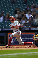 Tanner Tredaway (10) of the Oklahoma Sooners follows through on his swing against the Missouri Tigers in game four of the 2020 Shriners Hospitals for Children College Classic at Minute Maid Park on February 29, 2020 in Houston, Texas. The Tigers defeated the Sooners 8-7. (Brian Westerholt/Four Seam Images)