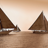 """Majestic vessels gliding across the Chesapeake Bay, """"Copper Sea"""" is the most popular image in the Fine Art, Limited Edition """"Skipjack Sunday"""" collection."""