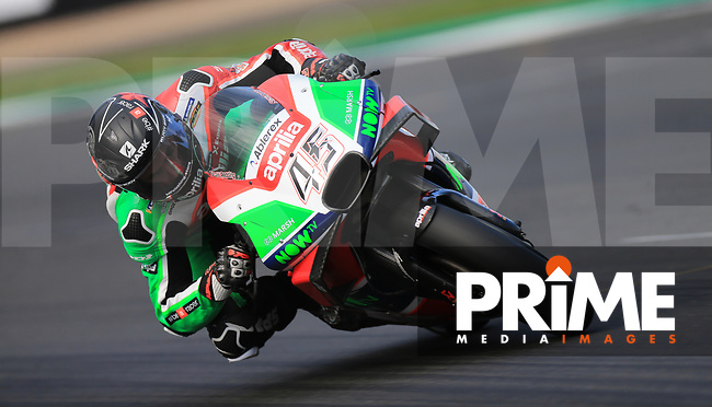 Scott Redding (45) of the Aprilia Racing Team Gresini race team during the GoPro British MotoGP at Silverstone Circuit, Towcester, England on 26 August 2018. Photo by Chris Brown / PRiME Media Images