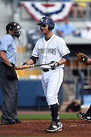 Charlotte Stone Crabs catcher Maxx Tissenbaum (8) reacts to a strike three call during a game against the Daytona Tortugas on April 14, 2015 at Charlotte Sports Park in Port Charlotte, Florida.  Charlotte defeated Daytona 2-0.  (Mike Janes/Four Seam Images)
