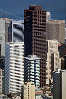 aerial photograph 555 California Street, the former Bank of America Center, the Hartford buildings and adjacent high rise buildings, San Francisco, California