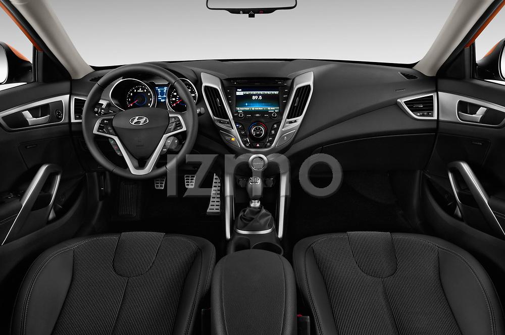 Stock photo of straight dashboard view of 2017 Hyundai Veloster Manual 5 Door Hatchback Dashboard