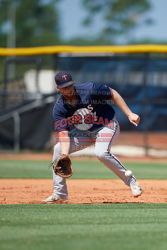 GCL Twins first baseman Gabe Snyder (7) fields a ground ball during a game against the GCL Rays on August 9, 2018 at Charlotte Sports Park in Port Charlotte, Florida.  GCL Twins defeated GCL Rays 5-2.  (Mike Janes/Four Seam Images)