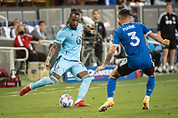 SAN JOSE, CA - AUGUST 17: Romain Metanire #19 of Minnesota United passes the ball during a game between San Jose Earthquakes and Minnesota United FC at PayPal Park on August 17, 2021 in San Jose, California.