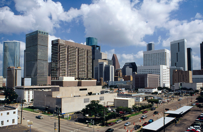 Rooftop view of Houston shows heart of this modern and rapidly growing city. Houston, Texas
