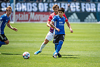 SAN JOSE, CA - APRIL 24: Eduardo Lopez #9 of the San Jose Earthquakes passes the ball during a game between FC Dallas and San Jose Earthquakes at PayPal Park on April 24, 2021 in San Jose, California.