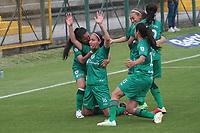 BOGOTA -COLOMBIA,19-10-2020:Laura Barreto de La Equidad  celebra después de anotar el primer gol de su equipo durante el partido entre La Equidad  y Fortaleza CEIF  por la fecha 1 de la Liga Femenina BetPlay DIMAYOR I 2020 jugado en el estadio Metroplitano de Techo  de la ciudad de Bogotá. /Laura Barreto of La Equidad celebrates after scoring the first goal of his team during match between La Equidad and  Fortaleza CEIF  for the date 1 BetPlay DIMAYOR women´s League I 2020 played at Metropoltano The Techo  stadium in Bogotá city. Photo: VizzorImage/ Felipe Caicedo / Staff