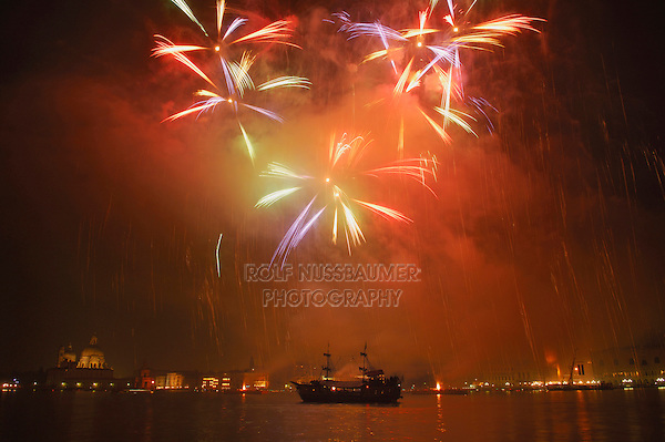 Firework display in the bay of Venice, Italy