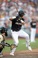 Louisville Cardinals designated hitter Danny Oriente (9) at bat during Game 12 of the NCAA College World Series against the Vanderbilt Commodores on June 21, 2019 at TD Ameritrade Park in Omaha, Nebraska. Vanderbilt defeated Louisville 3-2. (Andrew Woolley/Four Seam Images)