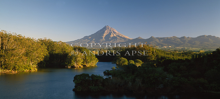 Lake Mangamahoe and Mount Taranaki (Egmont) in background. Taranaki Region New Zealand.