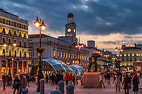 Puerta del Sol nightlife, Madrid, Spain