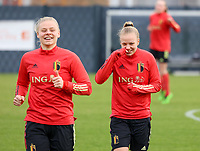 Ella Van Kerkhoven and Sarah Wijnants pictured during the training session of the Belgian Women's National Team ahead of a friendly female soccer game between the national teams of Germany and Belgium , called the Red Flames in a pre - bid tournament called Three Nations One Goal with the national teams from Belgium , The Netherlands and Germany towards a bid for the hosting of the 2027 FIFA Women's World Cup ,on 19th of February 2021 at Proximus Basecamp. PHOTO: SEVIL OKTEM | SPORTPIX.BE