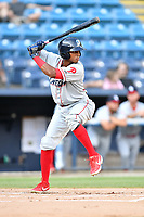 Lakewood BlueClaws Malvin Matos (33) at bat during a game against the Asheville Tourists at McCormick Field on August 5, 2019 in Asheville, North Carolina. The BlueClaws defeated the Tourists 4-2. (Tony Farlow/Four Seam Images)
