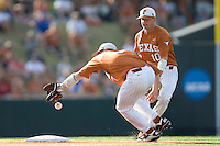 Texas Longhorns second baseman Jordan Etier #7 misses a throw from the pitcher while shortstop Brandon Loy #10 watches against the Arizona State Sun Devls in NCAA Tournament Super Regional baseball on June 10, 2011 at Disch Falk Field in Austin, Texas. (Photo by Andrew Woolley / Four Seam Images)